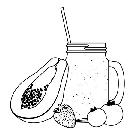 tropical fruit and smoothie drink with papaya, bluberries and strawberry icon cartoon in black and white vector illustration graphic design Ilustração Vetorial