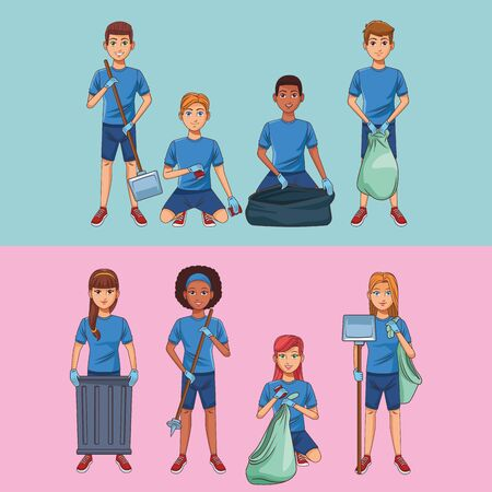 Park cleaning volunteers boy and girls cartoons vector illustration graphic design