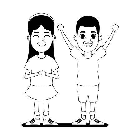 Deux enfants fille avec bandana souriant et garçon afro-américain avec les mains en l'air photo de profil portrait de personnage de dessin animé en noir et blanc vector illustration graphic design Vecteurs