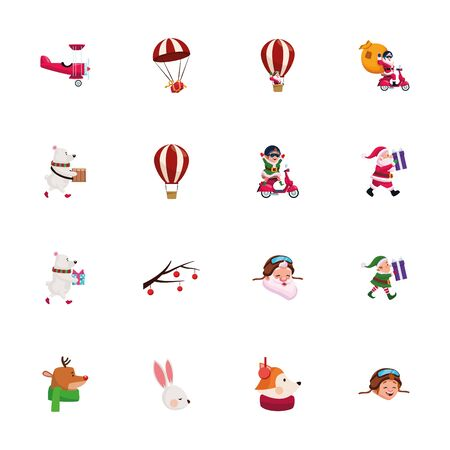 Icon set design, Merry christmas season decoration card invitation celebration and holiday theme Vector illustration Vettoriali