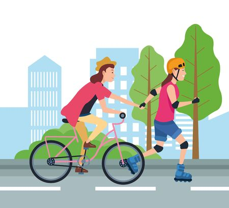 People with vehicles design, transportation drive travel traffic speed road and theme Vector illustration