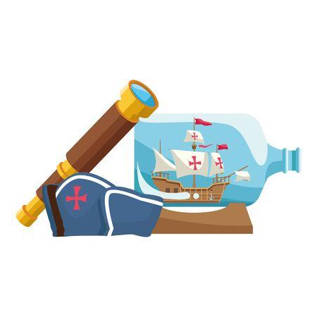 marine hat navigation with telescope and ship bottled vector illustration design