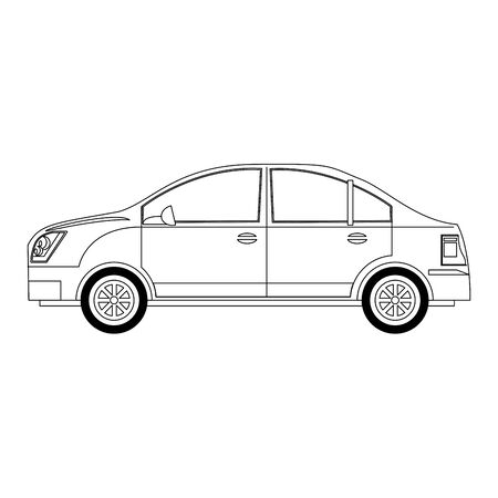 sedan car icon over white background, vector illustration