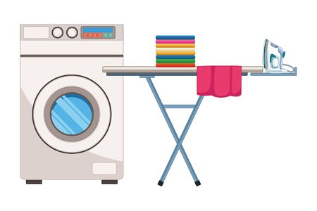 laundry wash and cleaning folded clothes and iron over an ironing board next to a washing machine icon cartoon vector illustration graphic design
