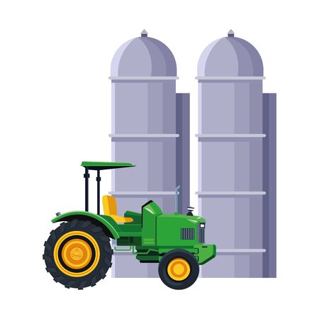 farm truck and granary over white background, vector illustration Illustration