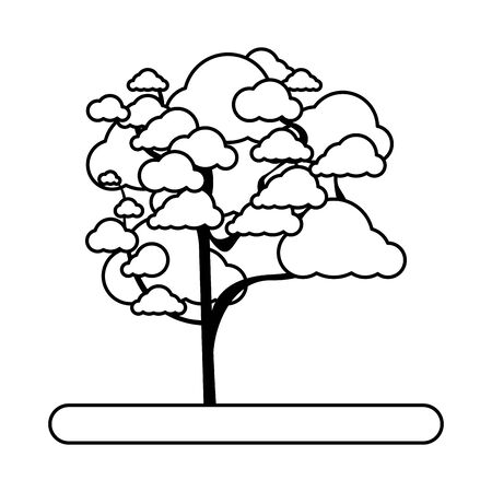 cherry blossom tree icon over white background, vector illustration