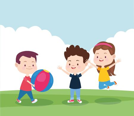 happy kids playing in the park with a ball, colorful design , vector illustration