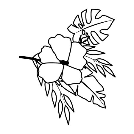 exotic tropical flower with leaves icon cartoon in black and white vector illustration graphic design