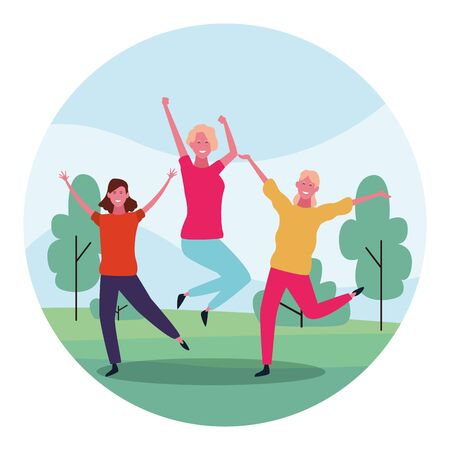 Cartoon happy women having fun in the park over white background, colorful design. vector illustration