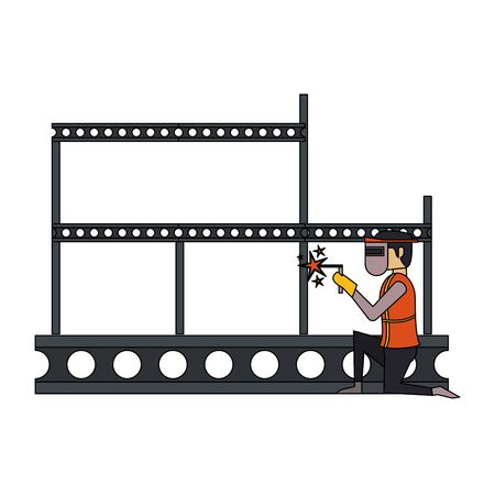 construction architectural engineering, worker making heavy welding work with protection safety equipment in under construction site cartoon vector illustration graphic design