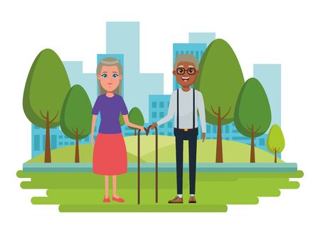 elderly people avatar old woman with long hair and cane and afroamerican old man with glasses and cane profile picture