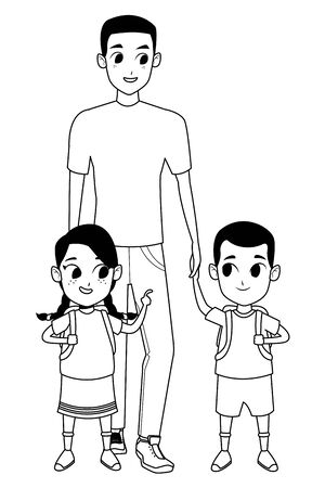 Family single father with kid holding school backpack vector illustration graphic design Vektorgrafik