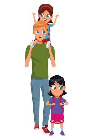 Family single father with kids holding school backpack isolated vector illustration graphic design Vektorgrafik