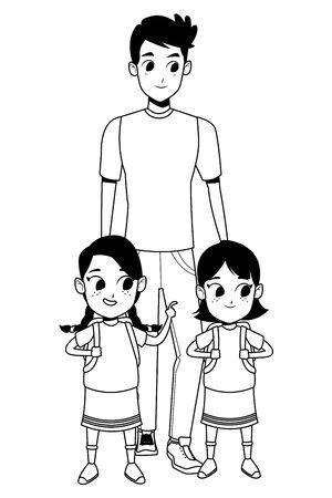 Family single mother with daughter holding school backpack vector illustration graphic design Ilustração