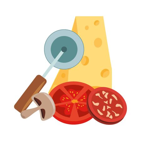 piece of cheese pepperoni with vegetables and cutter utensil over white background, vector illustration Ilustração