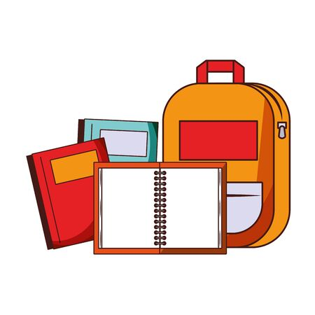 Back to school education backpack and notebooks cartoons vector illustration graphic design
