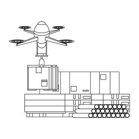 air drone remote control technology device delivery and logistic process with cardboard boxes in merchandise storage cartoon vector illustration graphic design