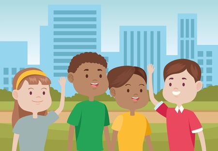 young people characters in the city vector illustration design Standard-Bild - 134379339