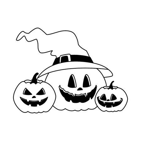 halloween pumpkins with witch hat vector illustration design