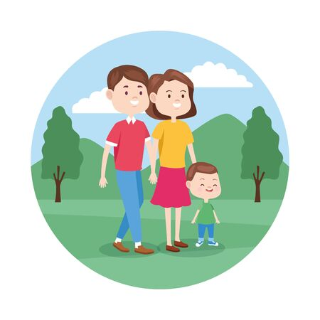 cartoon happy family with their son walking in the park, colorful design , vector illustration 일러스트