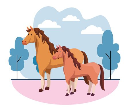farm, animals and farmer two horse icon cartoon over the grass with trees and clouds vector illustration graphic design 일러스트