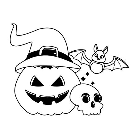halloween pumpkin with witch hat and bat flying vector illustration design