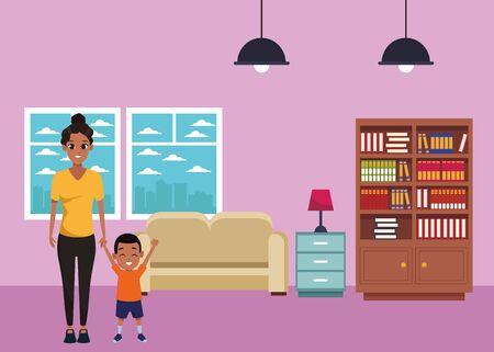 Mère afro célibataire avec dessin animé de fils d'enfants à l'intérieur du salon de la maison avec canapé et paysage de bibliothèque, conception graphique d'illustration vectorielle.
