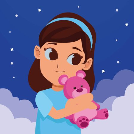 girl having fun and playing with purple teddy bear on sky night with stars and clouds background ,vector illustration graphic design.