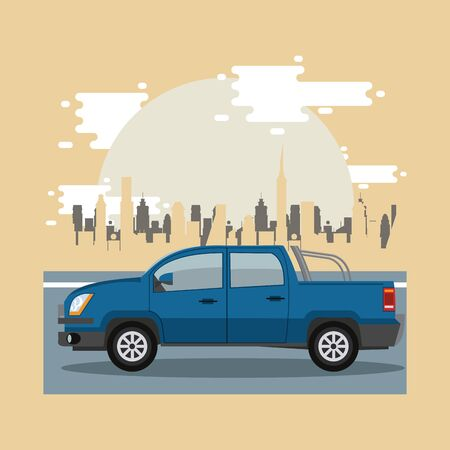 Pick up riding in the city scenery with buildings, vehicle and cityscape.