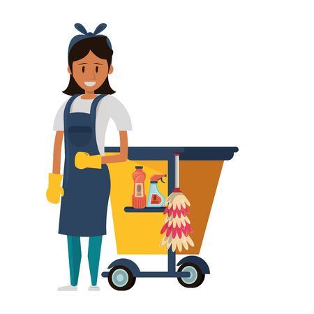 Cleaner worker with cleaning products in cart equipment vector illustration graphic design. Foto de archivo - 134385103