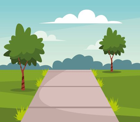 Nature park with trees and path scenery at sunny day cartoon vector illustration graphic design