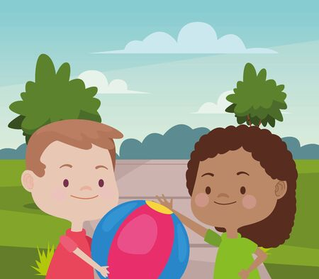Happy kids boy and girl smiling and playing with ball at nature outdoors ,vector illustration graphic design. Vecteurs