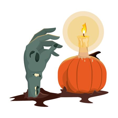 halloween pumpkin with candle and zombie hand vector illustration design