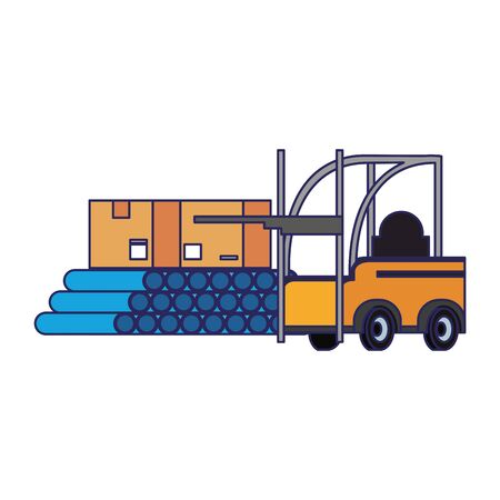 Forklift with pvc pipes and delivery boxes vector illustration
