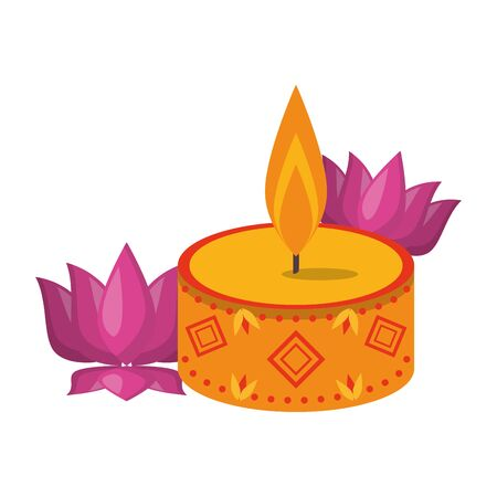 lit candle with lotus flower icon cartoon isolated vector illustration graphic design