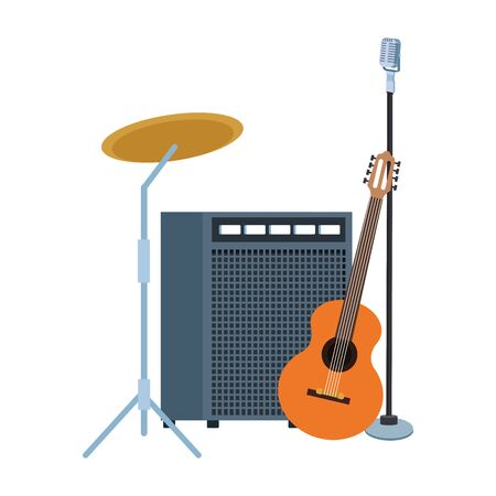 sound amplifier with instruments and stand microphone over white background, colorful design. vector illustration