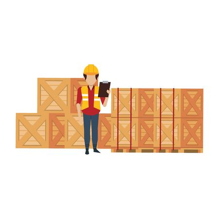 Warehouse worker checking merchandise on clipboard document vector illustration Foto de archivo - 134427601