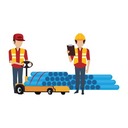 Warehouse workers with handtruck and pvc pipes vector illustration Foto de archivo - 134427687