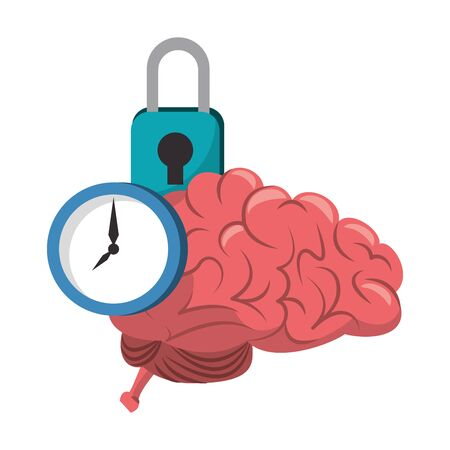 Brain and clock time with padlock cartoons vector illustration graphic design Vettoriali