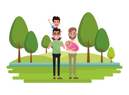 family avatar father with glasses carrying a boy in the shoulder and father with beard holding a baby profile picture cartoon