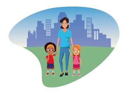 Alleinerziehende Mutter der Familie mit zwei Kindern, die Schulrucksäcke im Stadtparklandschaftshintergrund halten, Vektorillustration.