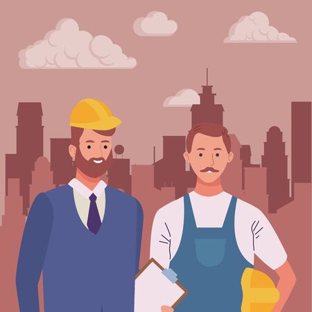 Professionals workers engineer and pumbler with briefcase with toolbox smiling cartoons in the city urban scenery ,vector illustration graphic design. Foto de archivo - 134428510