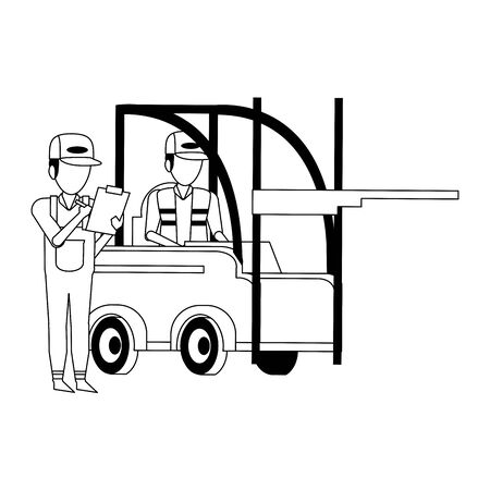 Warehouse workers driving forklift and holding clipboard vector illustration Foto de archivo - 134428511