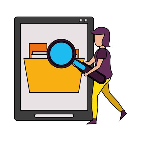 magnifying glass checking documents in tablet system technology cartoon vector illustration graphic design
