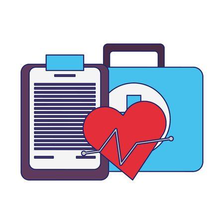 Fitnessgeräte Workout Gesundheit und Kardiologie Kit medizinisch mit Logbuchsymbolen Vektor-Illustration Grafikdesign