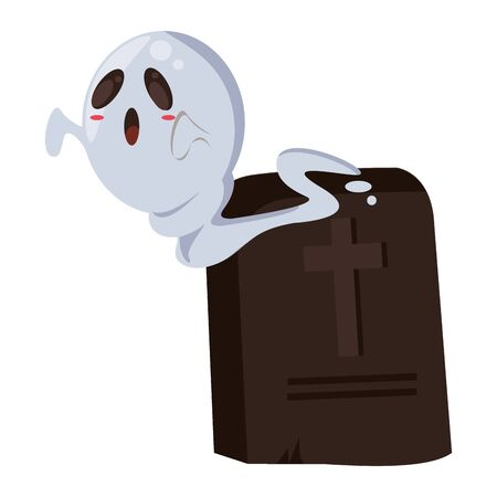 halloween ghost floating with graveyard vector illustration design 일러스트