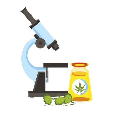 cannabis martihuana medical marijuana medicine sativa hemp buds and oil bottle cartoon vector illustration graphic design
