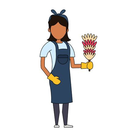 Cleaner woman worker with cobweb brush vector illustration graphic design. 向量圖像