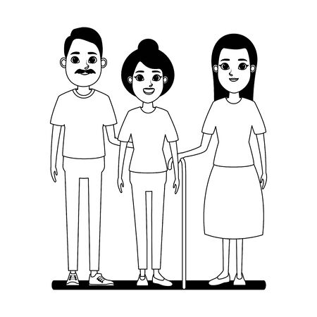 elderly people avatar old woman with long hair and cane, old woman with bun and old man with moustache profile picture cartoon character portrait in black and white vector illustration graphic design