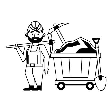 Mining worker with picks and shovel in train carrier vector illustration graphic design